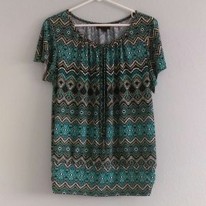 Turquoise South Western Patterned Blouse